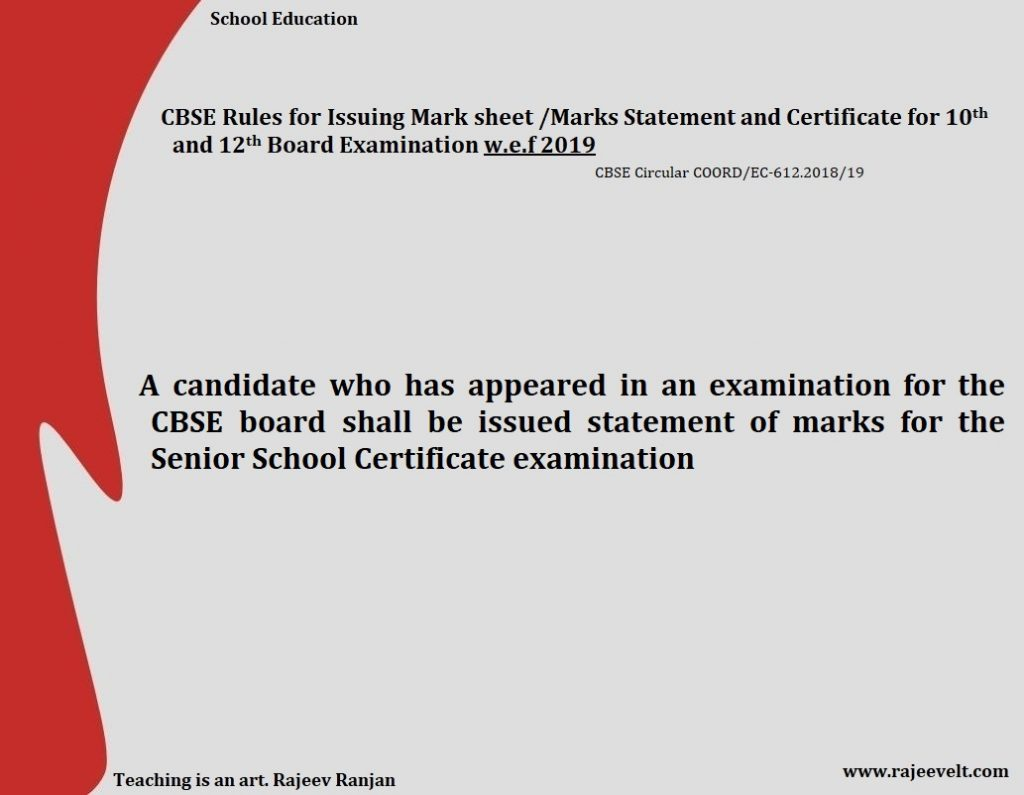 A candidate who has appeared in an examination for the CBSE board shall be issued statement of marks for the Senior School Certificate examination