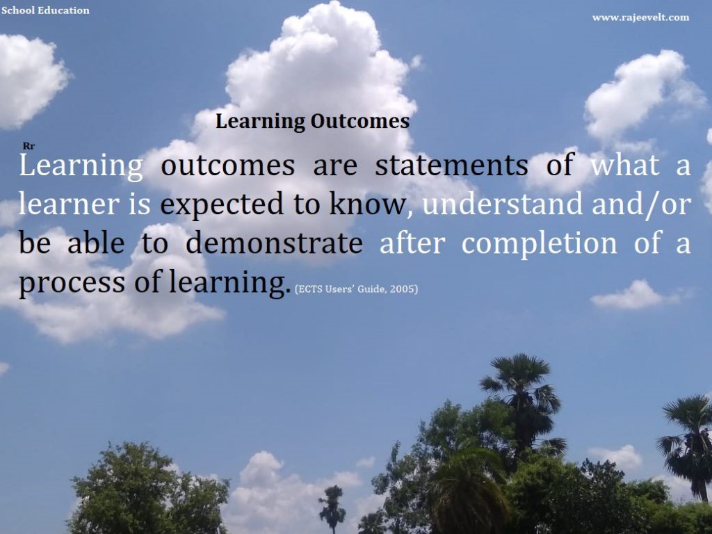 Learning outcomes are statements of what a learner is expected to know, understand and/or be able to demonstrate after completion of a process of learning. (ECTS Users' Guide, 2005)