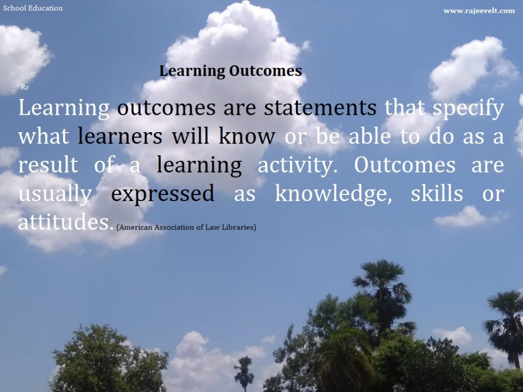 Learning outcomes are statements that specify what learners will know or be able to do as a result of a learning activity. Outcomes are usually expressed as knowledge, skills or attitudes. (American Association of Law Libraries)