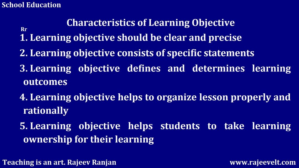 Characteristics of Learning Objective