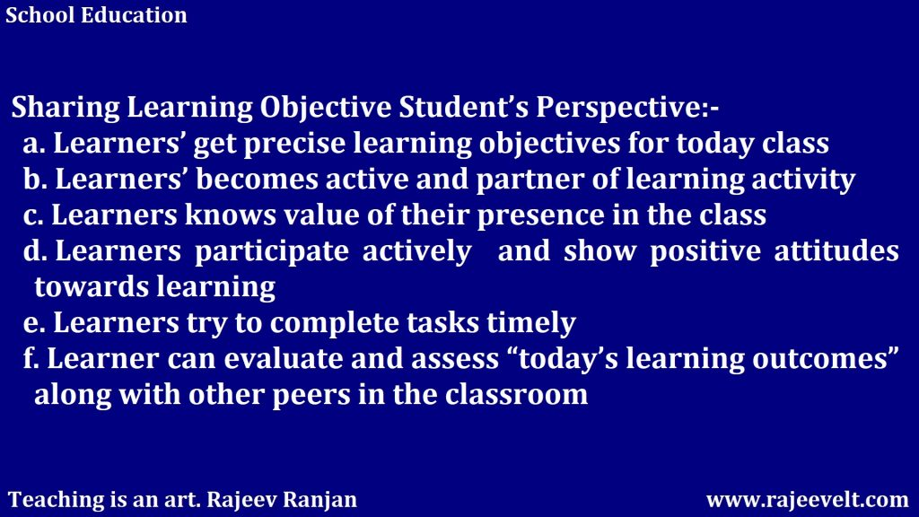 Sharing Learning Objective Student's Perspective