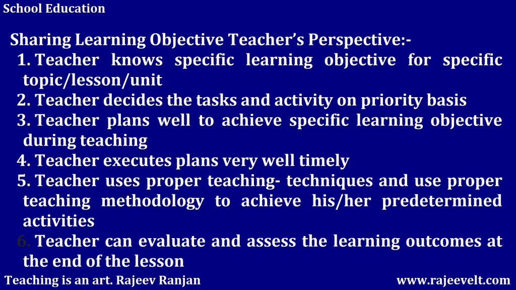 Sharing Learning Objective Teacher's Perspective
