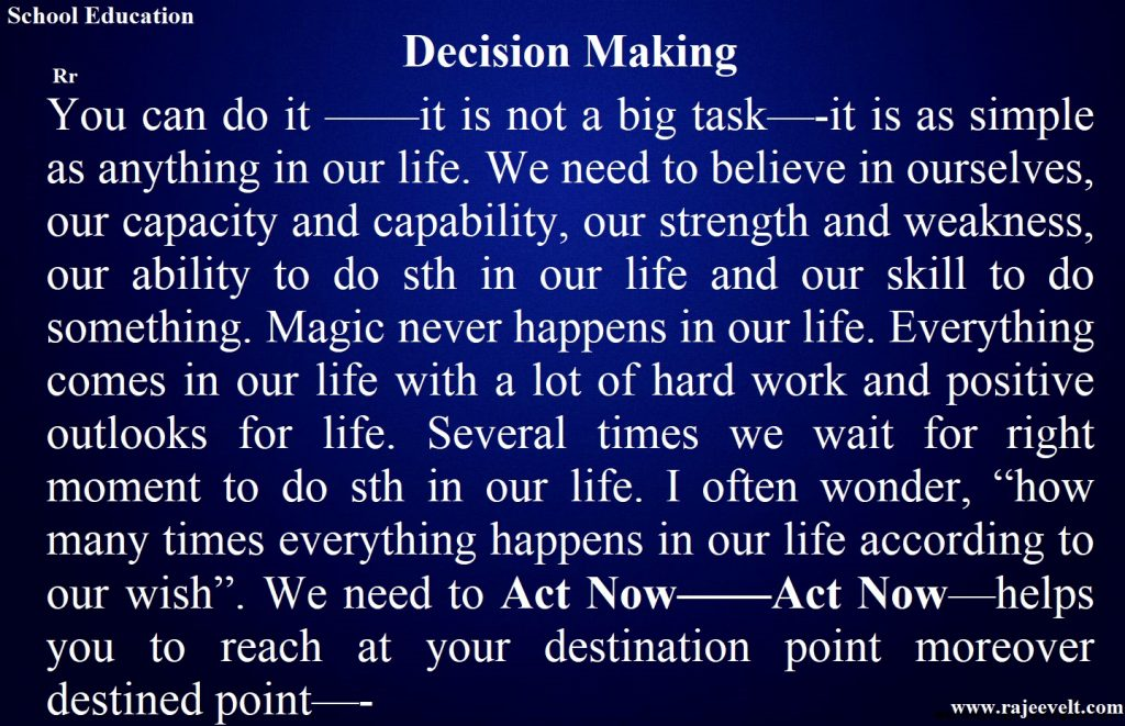 Decision Making - Decision Making Skill