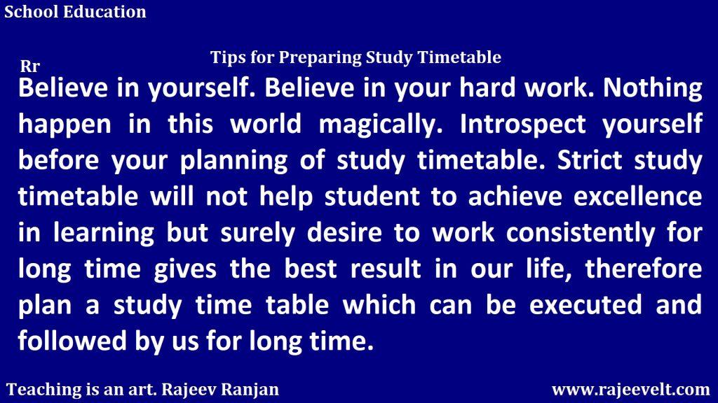 Time -Study Timetable -rajeev ranjan  --rajeevelt