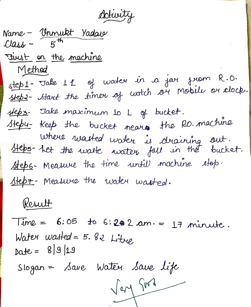 Student activity on save water- Rajeev Ranjan