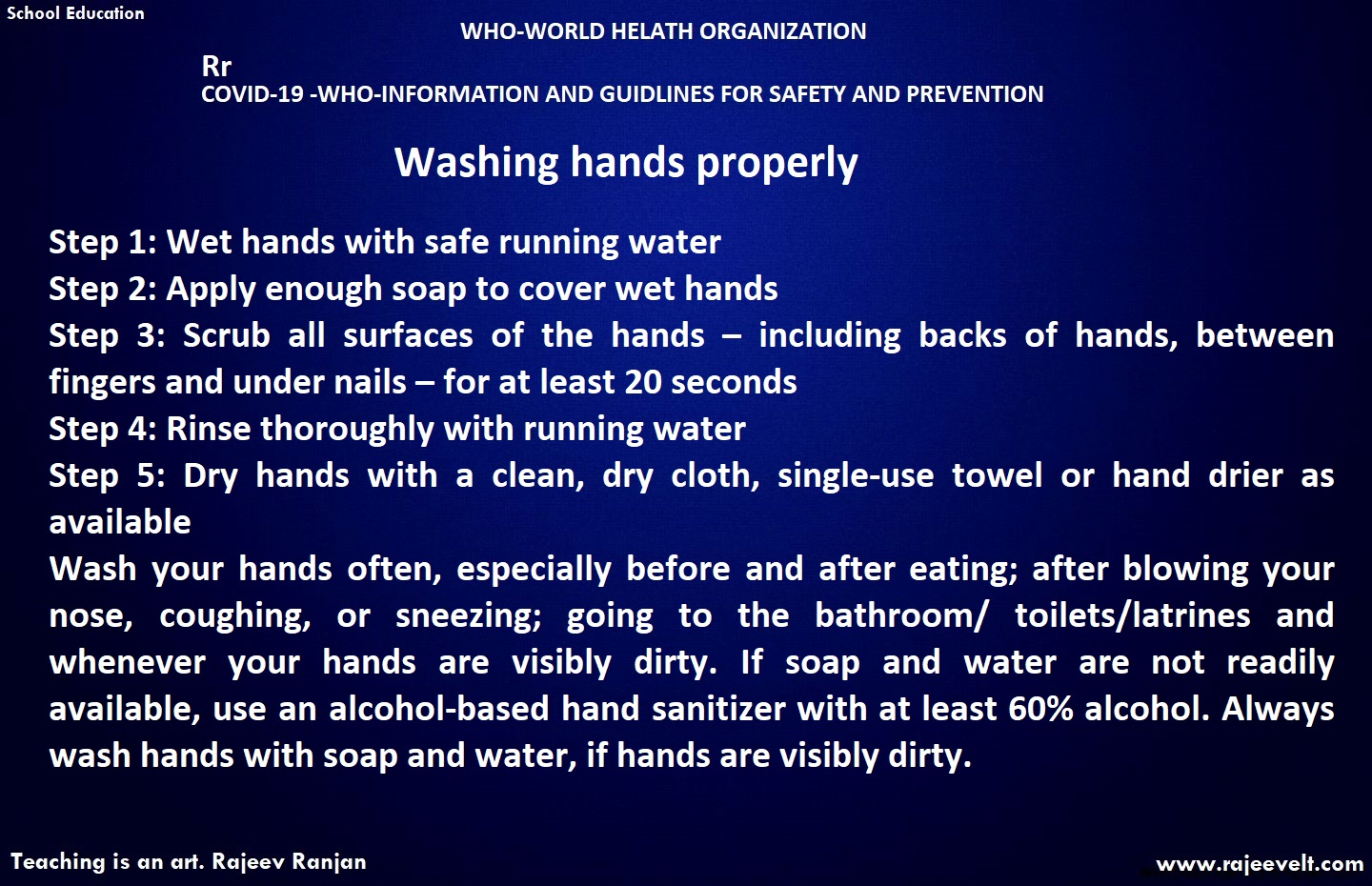 WASHING HANDS WHO UNICEF GUIDELINES