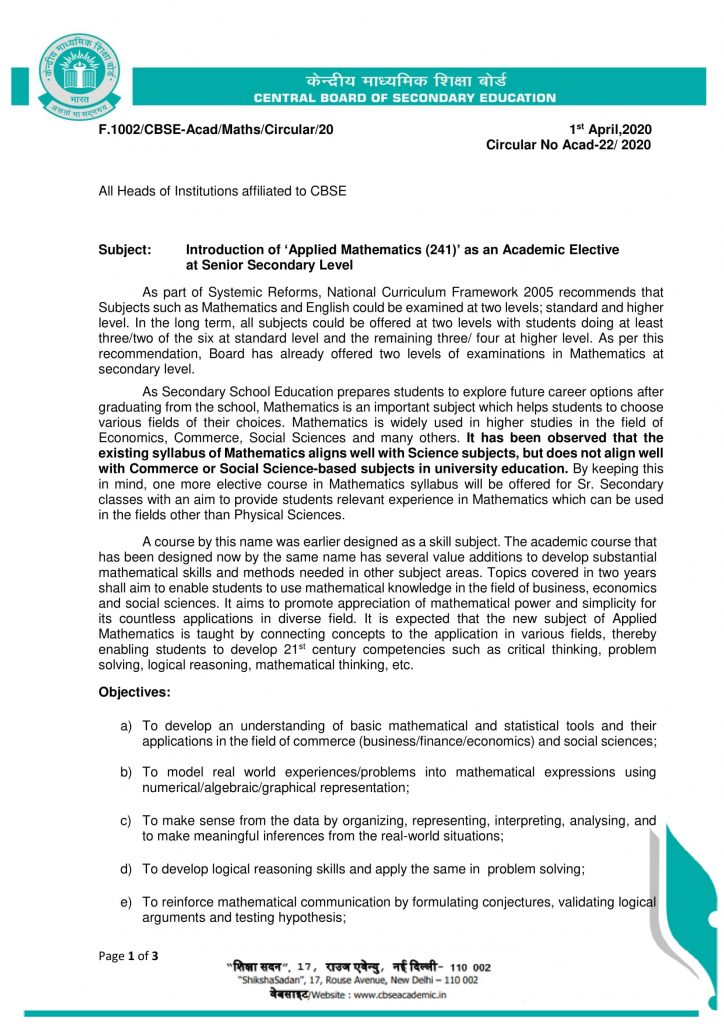Applied Mathematics-Code-241-CBSE- Rajeev Ranjan