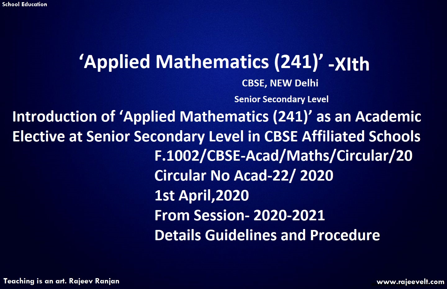 applied mathematics cbse