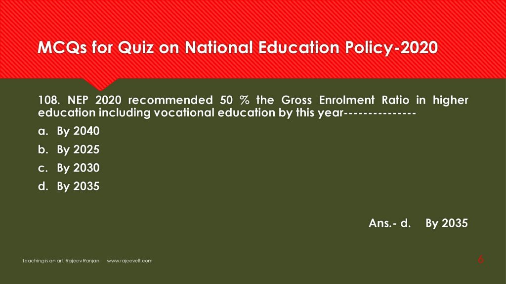 NEP 2020-Multiple Choices Questions for Competitive Exams- rajeevelt