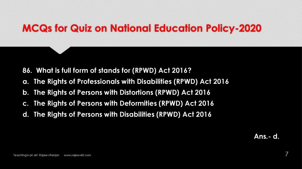 FAQs-MCQs-Multiple Choices Questions on NEP 2020-Rajeevelt