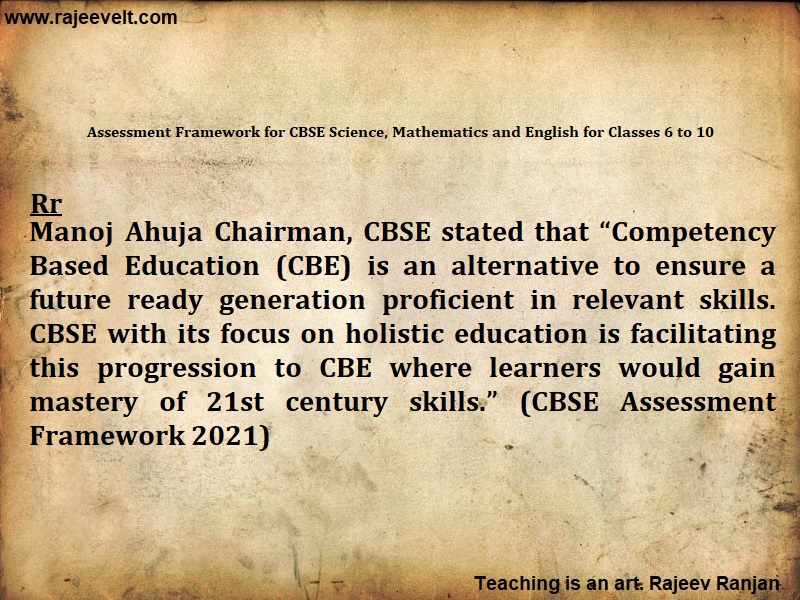 Assessment Framework for CBSE Science, Mathematics and English for Classes 6 to 10-rajeevelt