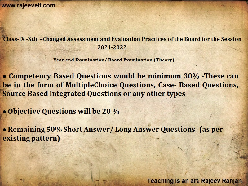 CBSE 10th and 12th Board Exam-Changed Pattern-2021-2022-Rajeevelt